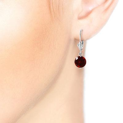 Garnet Drop Earrings 3.1 ctw in 9ct White Gold
