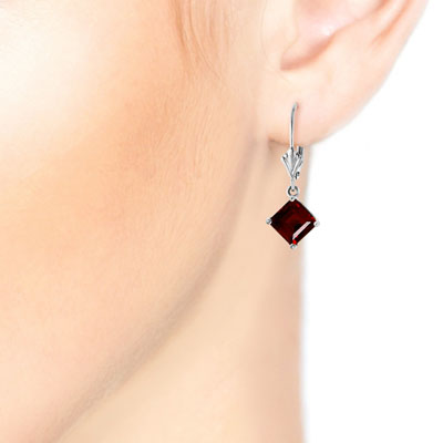 Garnet Drop Earrings 3.2 ctw in 9ct White Gold
