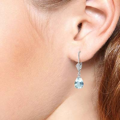 Aquamarine Belle Drop Earrings 2.85 ctw in 9ct White Gold