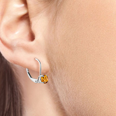 Citrine Boston Drop Earrings 1.2 ctw in 9ct White Gold