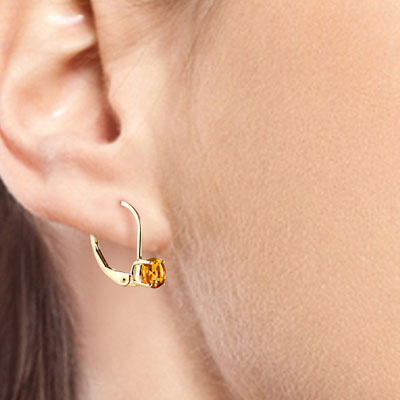Citrine Boston Drop Earrings 1.2 ctw in 9ct Gold