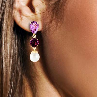 Amethyst & Pearl Droplet Earrings in 9ct Gold