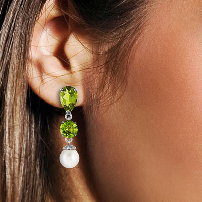 Peridot & Pearl Droplet Earrings in 9ct White Gold