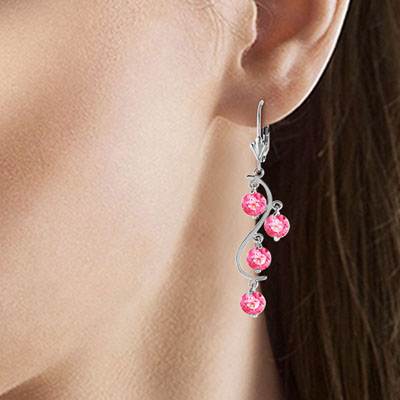Pink Topaz Dream Catcher Drop Earrings 4.95 ctw in 9ct White Gold