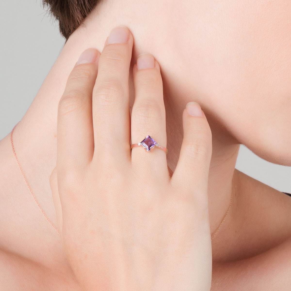 Amethyst & Diamond Princess Ring in 9ct Rose Gold