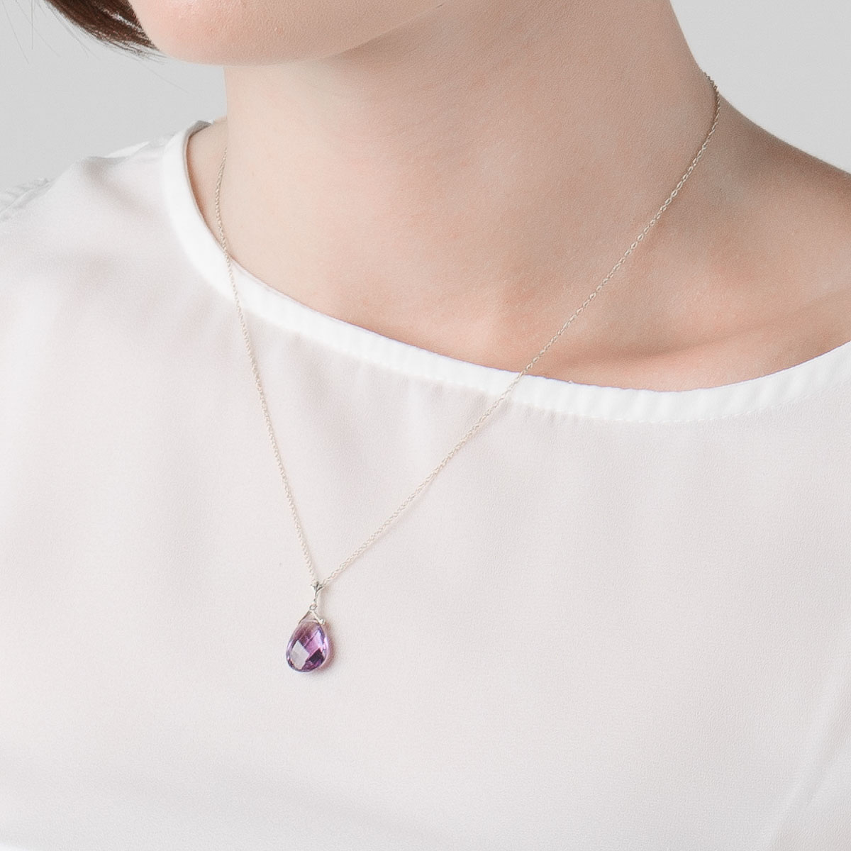 Amethyst Droplet Pendant Necklace 5.1 ct in 9ct White Gold