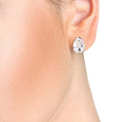 White Topaz Droplet Stud Earrings 10 ctw in 9ct White Gold