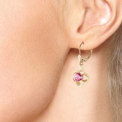 Pink Topaz Corona Drop Earrings 1.1 ctw in 9ct Gold
