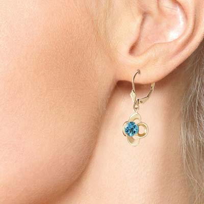 Blue Topaz Corona Drop Earrings 1.1 ctw in 9ct Gold