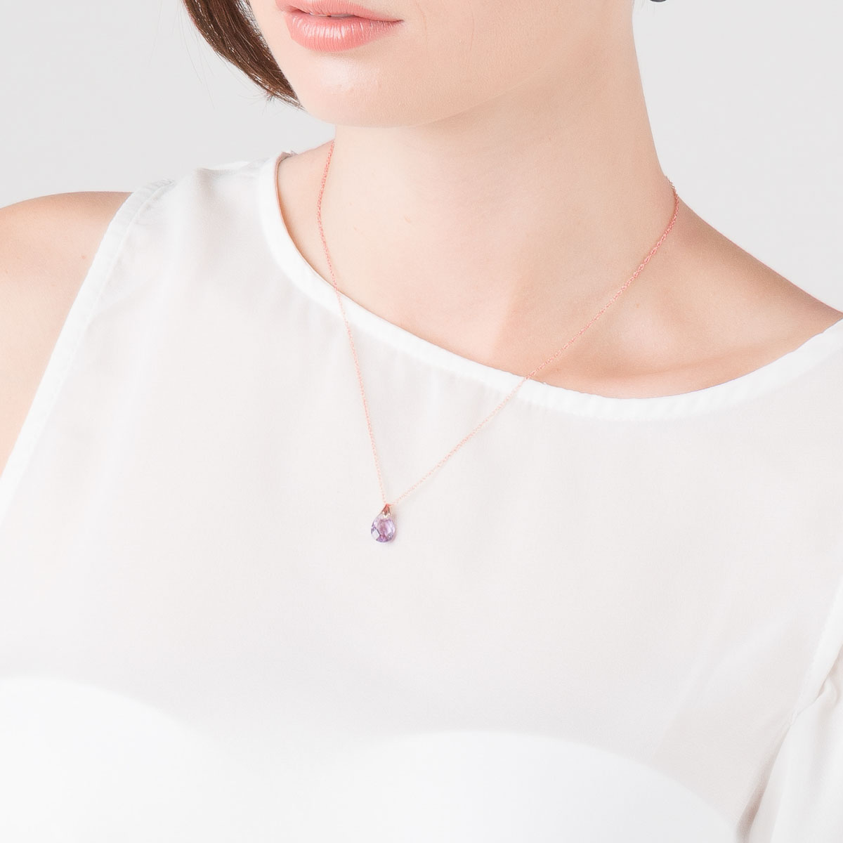 Amethyst Dewdrop Pendant Necklace 3 ct in 9ct Rose Gold