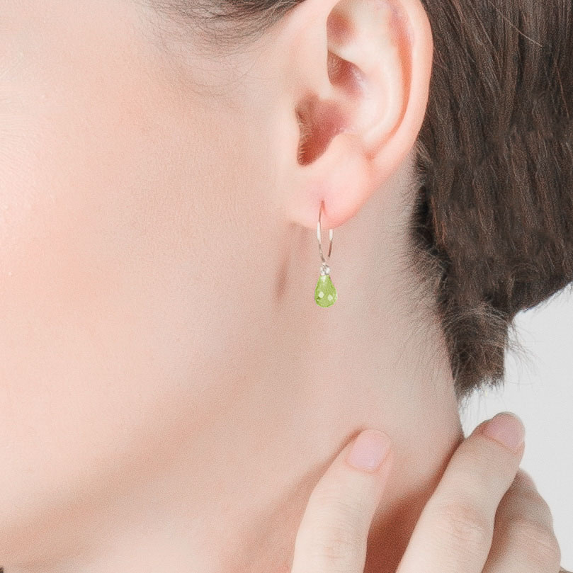 Peridot Eclipse Circle Wire Earrings 1.35 ctw in 9ct White Gold