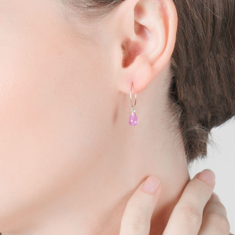 Pink Topaz Eclipse Circle Wire Earrings 1.35 ctw in 9ct White Gold