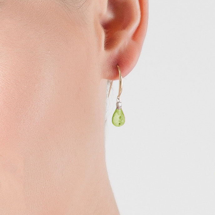 Peridot & Diamond Drop Earrings in 9ct Gold
