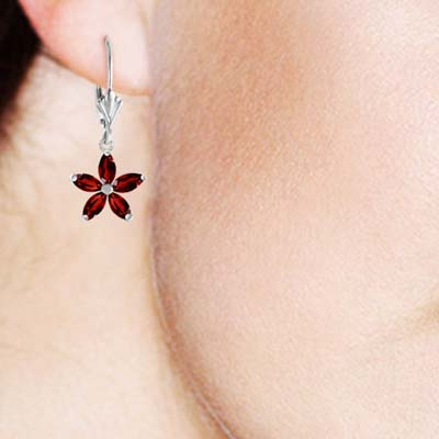 Garnet Flower Star Drop Earrings 2.8 ctw in 9ct White Gold