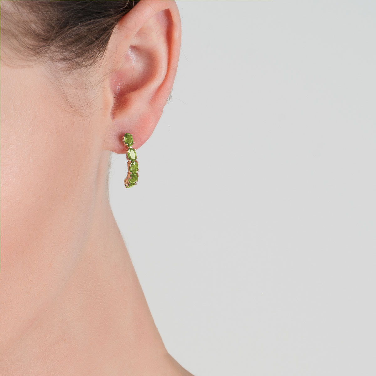 Peridot Linear Stud Earrings 2.5 ctw in 9ct Gold