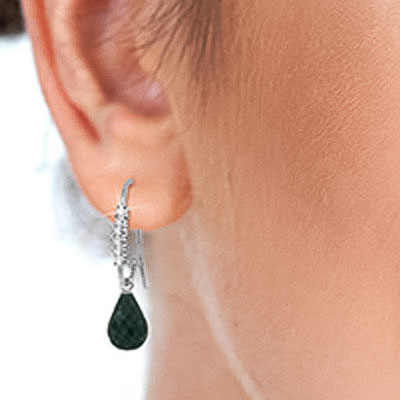 Diamond & Emerald Laced Stem Drop Earrings in 9ct White Gold