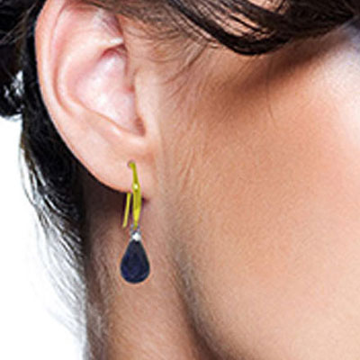 Sapphire & Diamond Drop Earrings in 9ct Gold