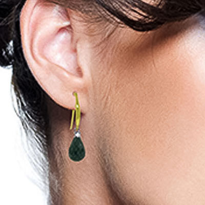 Emerald & Diamond Drop Earrings in 9ct Gold