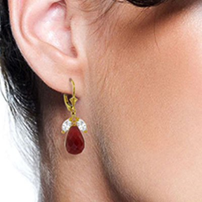 Ruby & White Topaz Snowdrop Earrings in 9ct Gold