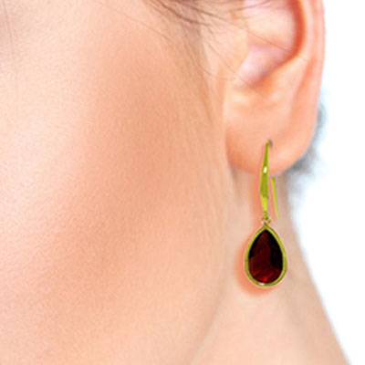 Garnet Elliptical Drop Earrings 5 ctw in 9ct Gold