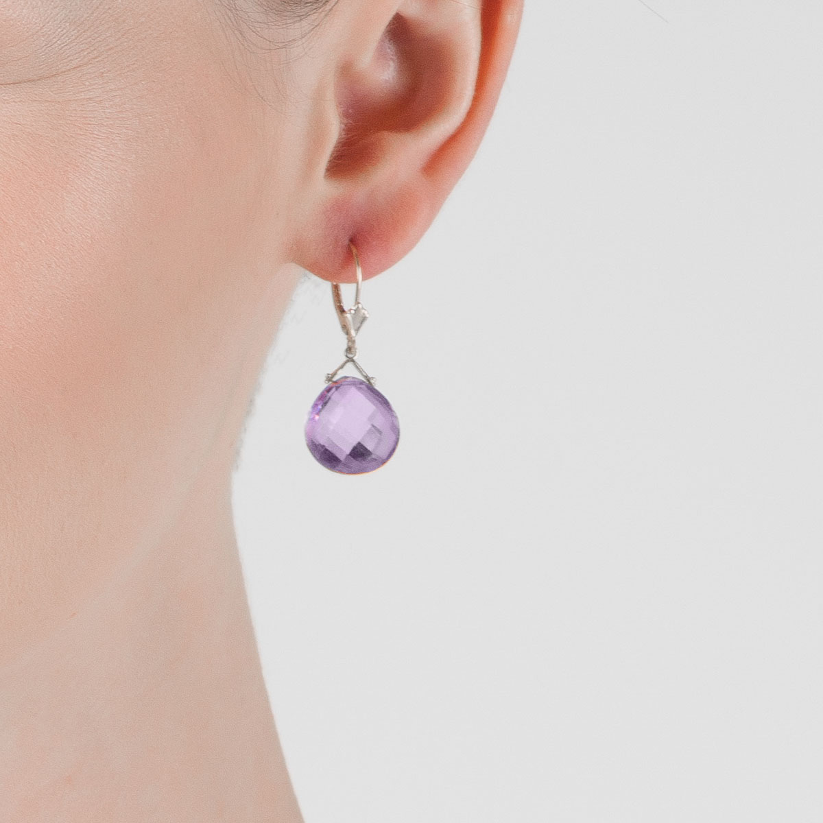 Amethyst Deflection Drop Earrings 17.5 ctw in 9ct White Gold