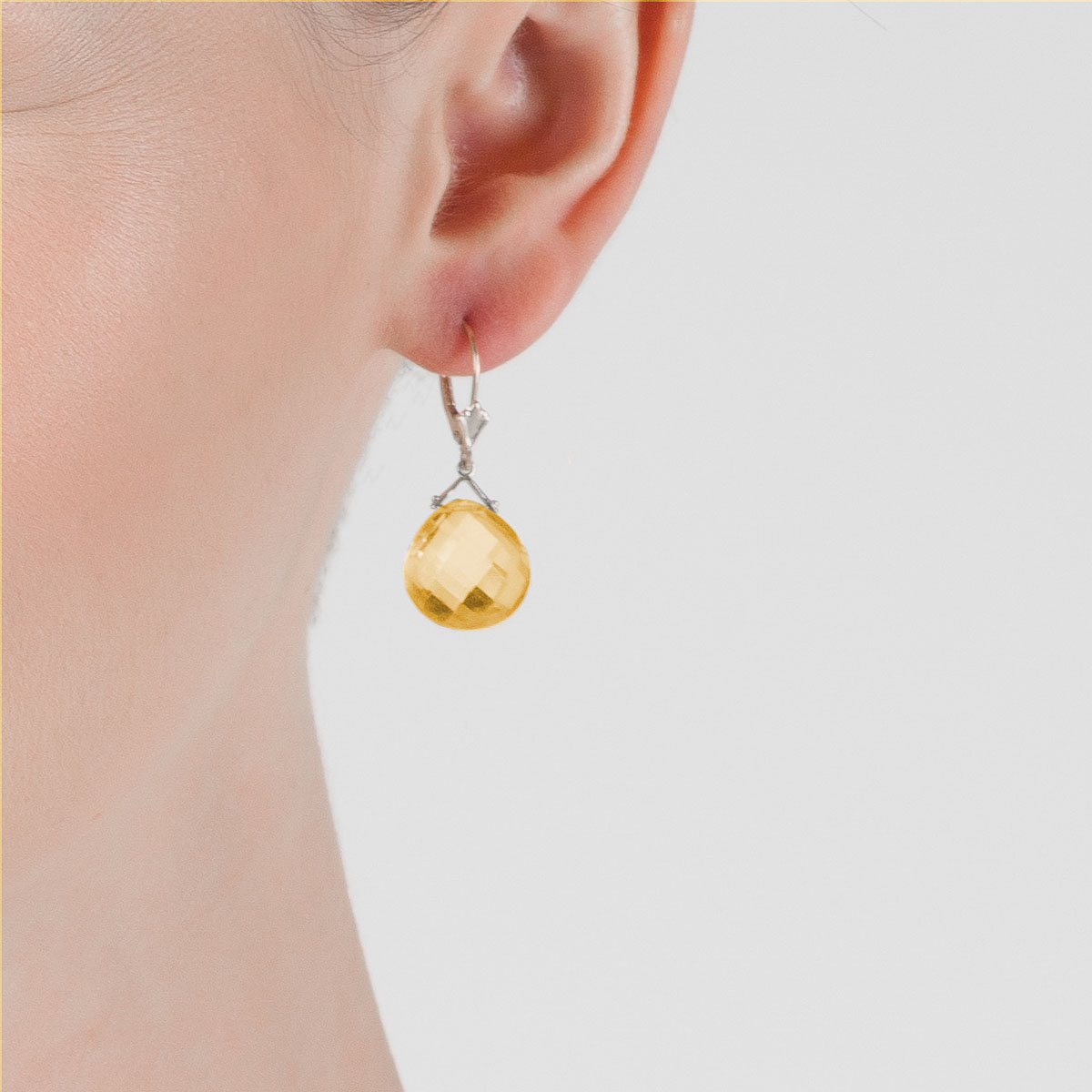 Citrine Deflection Drop Earrings 17.5 ctw in 9ct White Gold