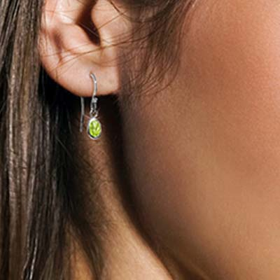Peridot Allure Drop Earrings 1 ctw in 9ct White Gold