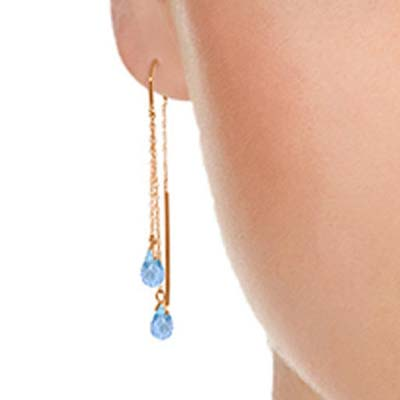 Blue Topaz Scintilla Earrings 2.5 ctw in 9ct Rose Gold