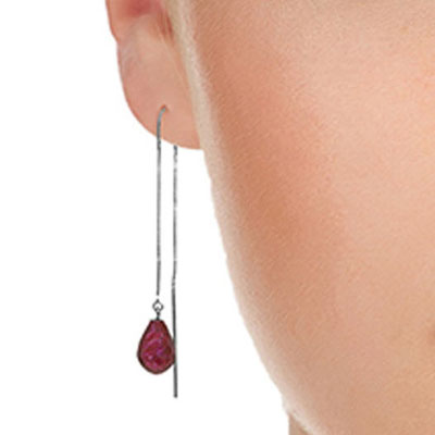 Ruby Scintilla Earrings 6.6 ctw in 9ct White Gold