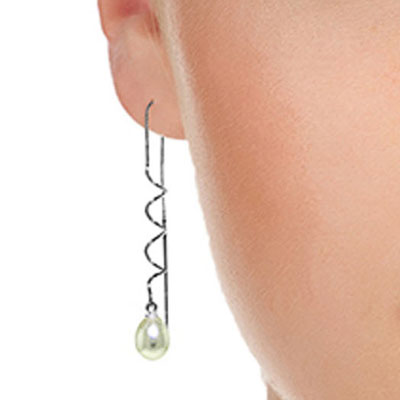 Pearl Threader Earrings 8 ctw in 9ct White Gold