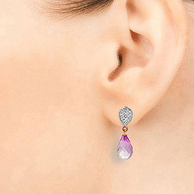 Pink Topaz & Diamond Droplet Earrings in 9ct Rose Gold