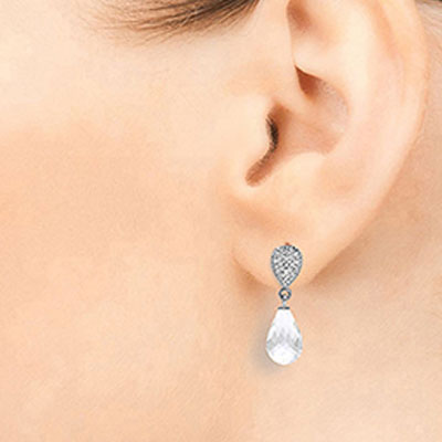 White Topaz & Diamond Droplet Earrings in 9ct White Gold