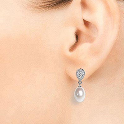 Pearl & Diamond Droplet Earrings in 9ct White Gold