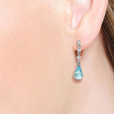 Blue Topaz & Diamond Chain Droplet Earrings in 9ct White Gold