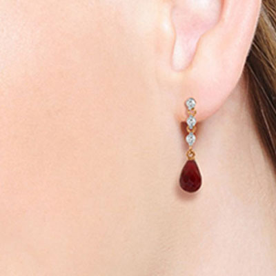 Ruby & Diamond Chain Droplet Earrings in 9ct Rose Gold