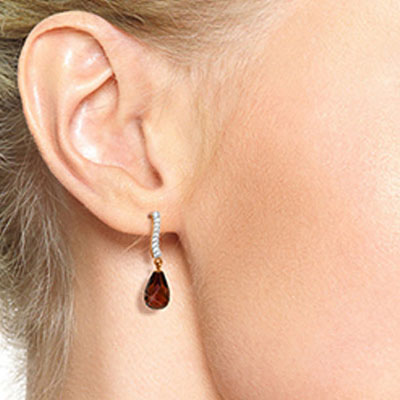 Garnet & Diamond Droplet Earrings in 9ct Rose Gold