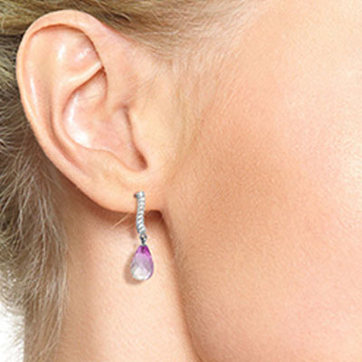 Pink Topaz & Diamond Droplet Earrings in 9ct White Gold