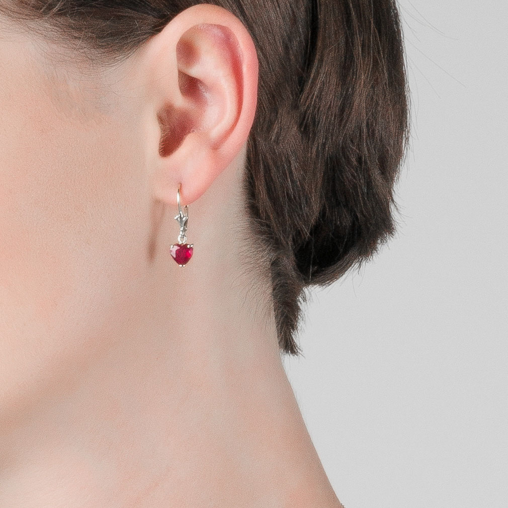 Ruby Drop Earrings 2.9 ctw in 9ct White Gold
