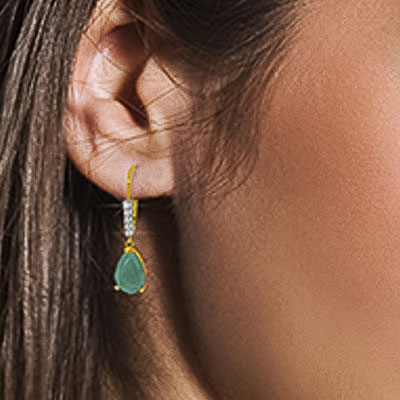 Emerald & Diamond Belle Drop Earrings in 9ct Gold