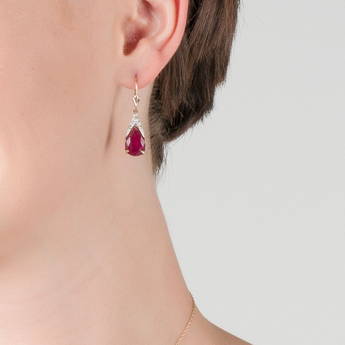 Ruby Snowcap Drop Earrings 10 ctw in 9ct Gold