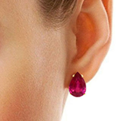 Ruby Droplet Stud Earrings 10 ctw in 9ct Gold