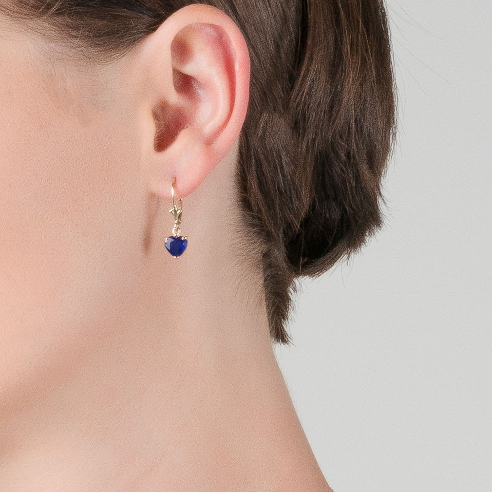 Sapphire Drop Earrings 3.1 ctw in 9ct Gold
