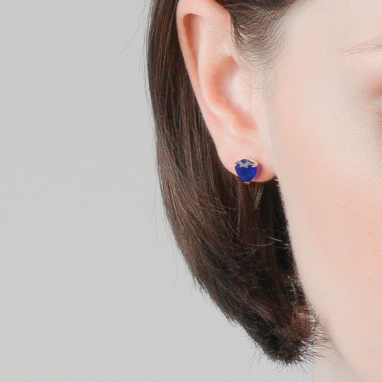 Sapphire Stud Earrings 3.1 ctw in 9ct White Gold