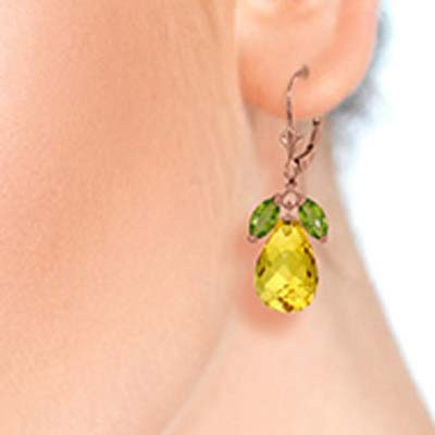 Peridot & Citrine Drop Earrings in 9ct Rose Gold