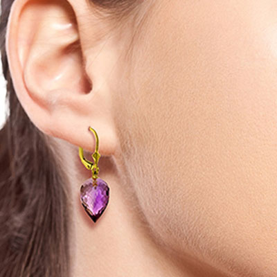 Amethyst Briolette Drop Earrings 19 ctw in 9ct Gold