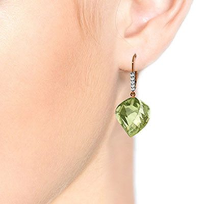Green Amethyst Drop Earrings 26.15 ctw in 9ct Rose Gold