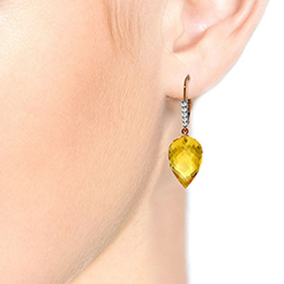 Citrine Drop Earrings 19.15 ctw in 9ct Rose Gold