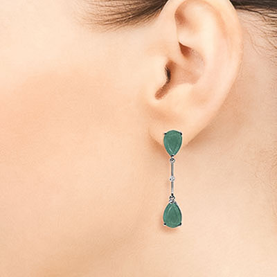 Emerald Drop Earrings 15.01 ctw in 9ct White Gold