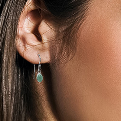 Emerald Drop Earrings 1 ctw in 9ct White Gold